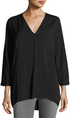 Halston Bracelet-Sleeve V-Neck Flowy Georgette Top