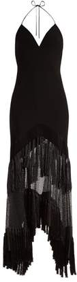 Diane von Furstenberg V Neck Fringed Lace Gown - Womens - Black