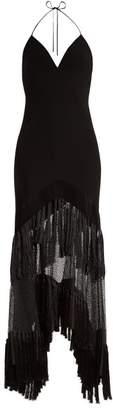 Diane Von Furstenberg - V Neck Fringed Lace Gown - Womens - Black
