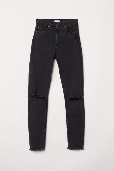 H&M - Slim High Trashed Jeans - Gray