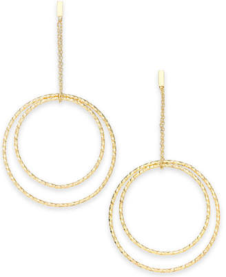 INC International Concepts I.N.C. Gold-Tone Textured Double Hoop Drop Earrings, Created for Macy's