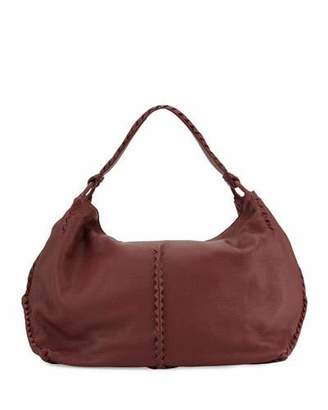 Bottega Veneta Cervo Large Leather Shoulder Bag, Bordeaux $2,200 thestylecure.com
