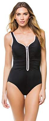 Reebok Women's Zig Zag V Neck One Piece Swimsuit