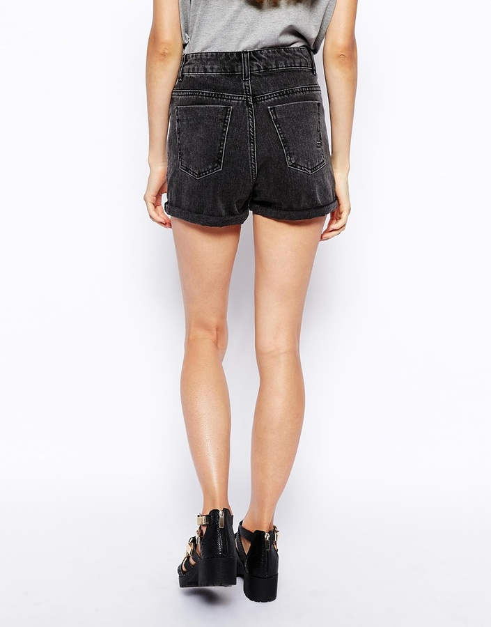 Asos High Waist Denim Mom Shorts in Charcoal