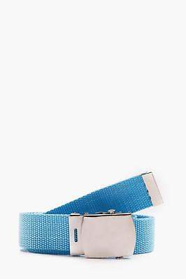 boohoo NEW Mens Webbing Belt With Covered Buckle in Blue size One Size