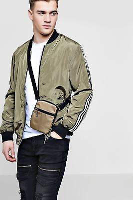 Mens Nylon Cross Body Bag in Camel size One Size