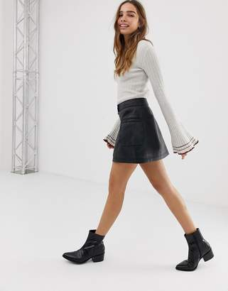 Free People High A Line leather mini skirt