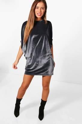 boohoo Petite Rachel Ruched Sleeve shift Dress