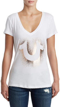 True Religion WOMENS METALLIC DEEP V GRAPHIC TEE