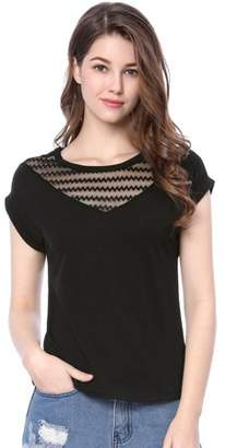 Unique Bargains Women's Sheer Chevron Embroidery Mesh Panel T-Shirt