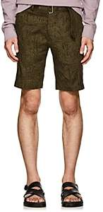 Officine Generale Men's Julian Palm-Tree-Pattern Cotton Shorts - Olive