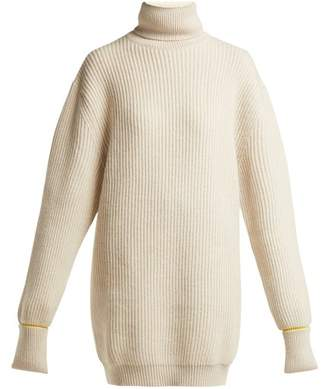 Maison Margiela Oversized Wool Blend Roll Neck Sweater - Womens - Beige Multi