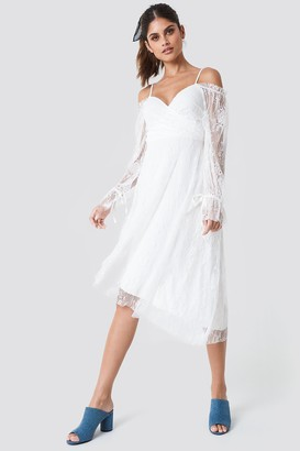 Trendyol Asymmetric Lace Midi Dress Ecru