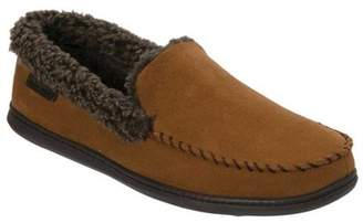 Dearfoams Men's Microsuede Whipstitch Moccasin Slipper - Wide Width
