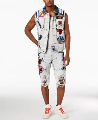 Heritage American Men's Nba Patches Destroyed Denim Vest