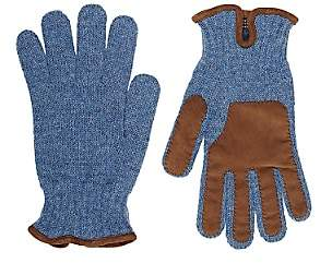 Barneys New York MEN'S SUEDE-TRIMMED WOOL GLOVES-LT BLUE SIZE 9.5