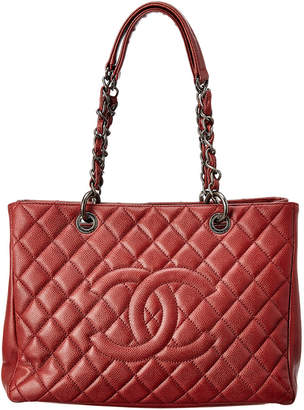 Chanel Burgundy Quilted Caviar Leather Grand Shopping Tote
