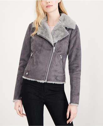 Maison Jules Faux-Suede Faux-Fur Moto Jacket, Created for Macy's