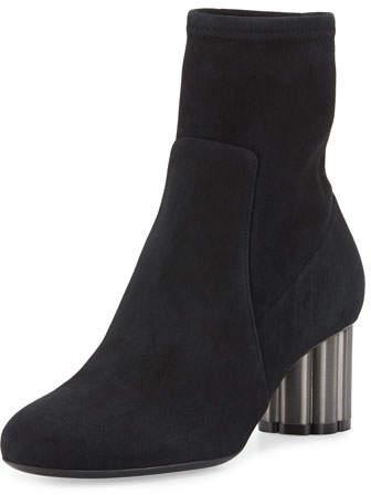 Salvatore Ferragamo Suede Midi Ankle Boot, Black