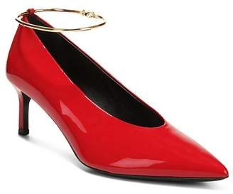 Via Spiga Women's Bailey Pointed Toe Patent Leather Mid-Heel Pumps