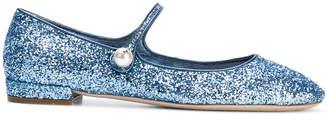 Miu Miu glittered ballerina shoes
