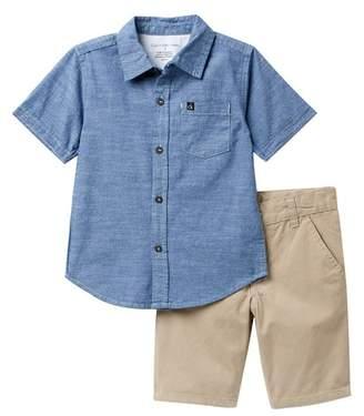 Calvin Klein Denim Woven Shirt & Twill Shorts Set (Little Boys)