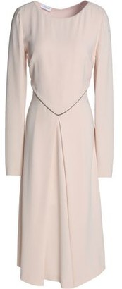 Vionnet Satin-Trimmed Fluted Crepe Midi Dress