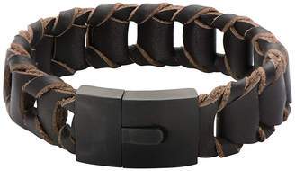 JCPenney FINE JEWELRY Mens Fold Braided Brown Leather Bracelet