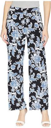 Vince Camuto Woodblock Floral Wide Leg Pull-On Pants Women's Casual Pants