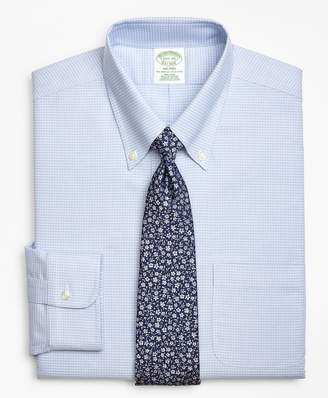 Brooks Brothers BrooksCool Milano Slim-Fit Dress Shirt, Non-Iron Micro-Double Check