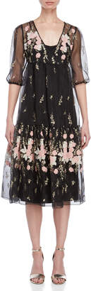 Blugirl Sheer Embroidered V-Neck Dress