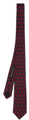 Alexander McQueen Charm Jacquard Silk Tie - Mens - Navy Multi