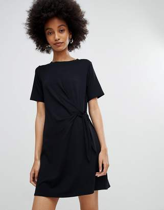 New Look Black Ruched Side Jersey Tunic Dress