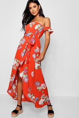 boohoo Katie Off The Shoulder Floral Maxi Dress