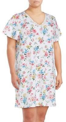 Karen Neuburger Plus Lace-Trimmed Floral Nightgown