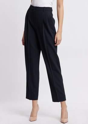 Emporio Armani Pants With Pleats In Chevron Jacquard Fabric