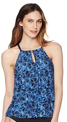 Coastal Blue Women's Control Swimwear 3 Tiered Ruffle Tankini Top