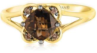 Chocolate By Petite Le Vian 14ct Honey Gold Chocolate Quartz & Chocolate Diamond Ring