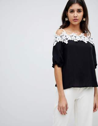 Rare London Crochet Cold Shoulder Top