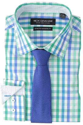 Nick Graham Multi Check Stretch Shirt with Textured Solid Tie Men's Long Sleeve Button Up