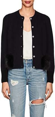 Barneys New York Women's Fur-Trimmed Cashmere Cardigan - Navy