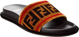 Fendi Ff Velvet & Leather Slide