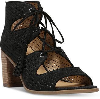Franco Sarto Honolulu Block-Heel Lace-Up Sandals $119 thestylecure.com