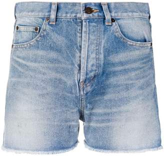 Saint Laurent faded denim shorts