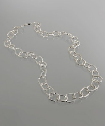 A.V. Max silver long chain link necklace