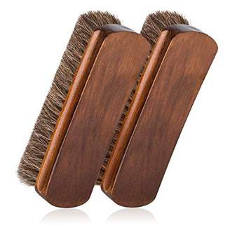 """Foloda 6.7"""" Horsehair Shoe Shine Brushes with Horse Hair Bristles for Boots, Shoes & Other Leather Care, 2 Pack"""