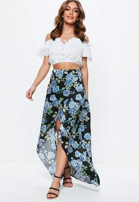 Missguided Black Floral Satin Split Wrap Over Maxi Skirt