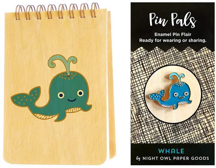 Blue Whale Wood Mini Notepad & Enamel Pin