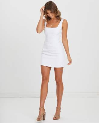 Atmos & Here ICONIC EXCLUSIVE - Square Neckline Textured Cotton Mini