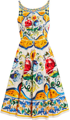 Dolce & Gabbana - Printed Stretch-cotton Cloqué Dress - Yellow $2,995 thestylecure.com